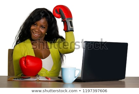 Business woman sitting in combat readiness Stock photo © pzaxe
