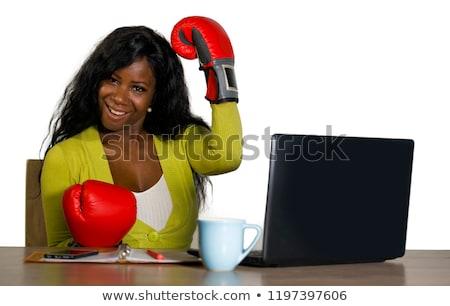 iş · kadını · oturma · hazır · olma · yalıtılmış · beyaz - stok fotoğraf © pzaxe