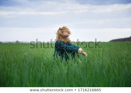 monochrome sitting pensive girl stock photo © dolgachov