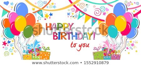 Doğum günü tebrik kartı güzel küçük kız arka plan arkadaşlar Stok fotoğraf © balasoiu