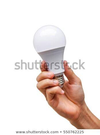 kéz · lámpa · elektomos · gazdaságos · fehér · férfiak - stock fotó © shutswis