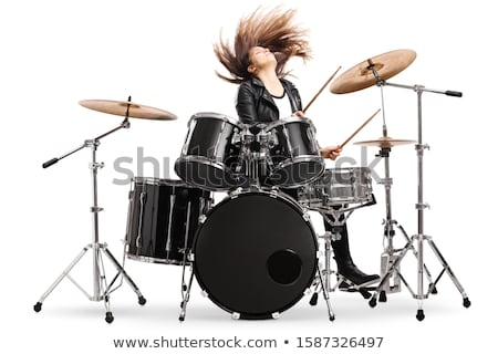 Happy female drummer Stock photo © sumners