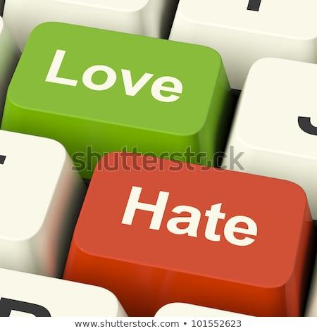 Amor odio ordenador mujer besar cable Foto stock © smithore
