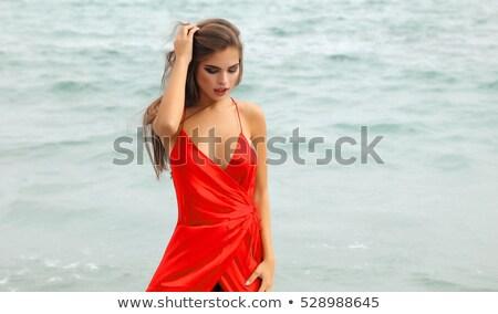 brunette posing in coat and black swimsuit stock photo © acidgrey