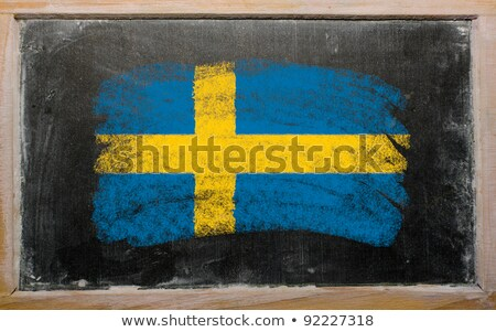 National Flag Of Sweden On Blackboard Painted With Chalk Foto stock © vepar5