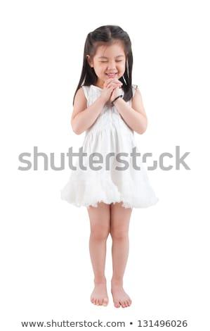 Asian girl making a wish Stock photo © szefei