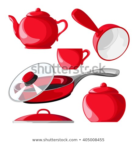 háziasszony · piros · merőkanál · kép · gyönyörű · nő - stock fotó © dolgachov