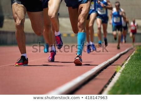 Fiatal nő fut útvonal mező stadion nő Stock fotó © lightpoet