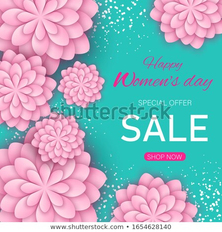 Save the date vector card with pink flower. Vector illustration stock photo © prokhorov