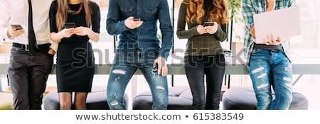 Gente che parla donne uomini comunicazione cellulare Foto d'archivio © curvabezier