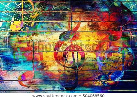 Absztrakt színes musical virágmintás zene mikrofon Stock fotó © rioillustrator