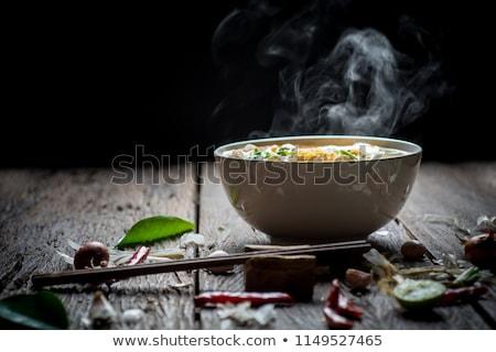 ázsiai vegetáriánus étel négy fekete tálak rizs Stock fotó © doupix