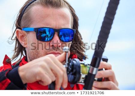 удочка лодка рыбалки синий океана Сток-фото © lunamarina