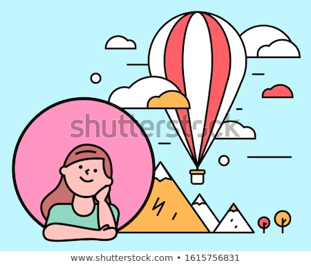 Portrait of girl sitting on hot air balloon Stock photo © zzve
