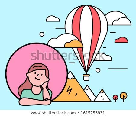 портрет · девушки · сидят · воздушном · шаре · ребенка · фон - Сток-фото © zzve