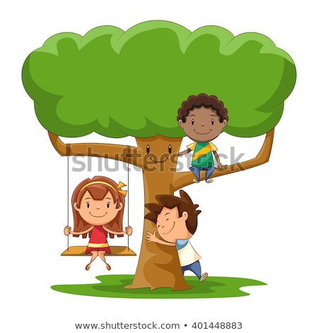 girl sitting on tree and boy stock photo © zzve