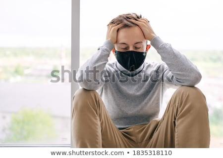 Csalódott férfi tart lélegzet kezek kétségbeesés Stock fotó © smithore