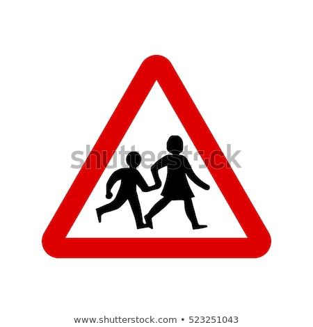 Figyelmeztető jel gyerekek út felirat feliratok játék Stock fotó © Ustofre9