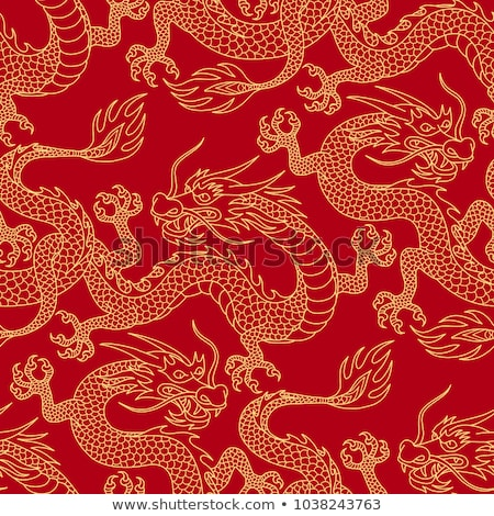 бесшовный Китайский дракон масштаба шаблон дизайна обои Сток-фото © creative_stock