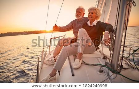 âgées · couple · heureux · parc · amour - photo stock © Kurhan