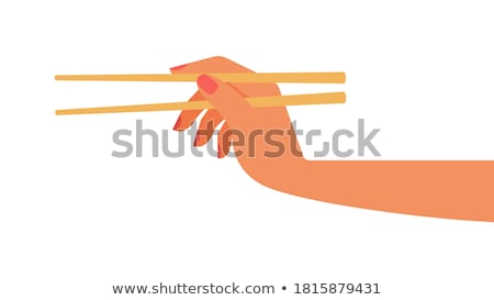 hand · eetstokjes · voedsel · restaurant - stockfoto © jackethead
