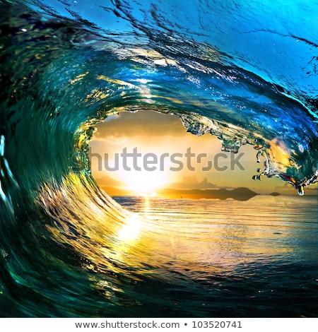 vue · tropicales · crépuscule · ciel · eau · nuit - photo stock © moses