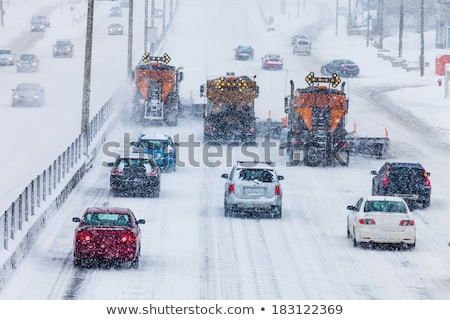 Lined up Cars on the Highway on a Winter day stock photo © aetb
