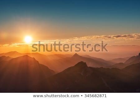 Zonneschijn bergen huis wolken voorjaar licht Stockfoto © Nejron