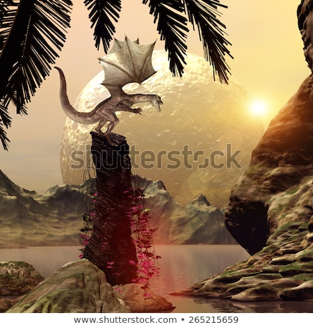medieval knight in attack position on fire background stock photo © nejron