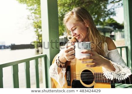 guitarra · cabeça · raso · campo · ouro · madeira - foto stock © nejron