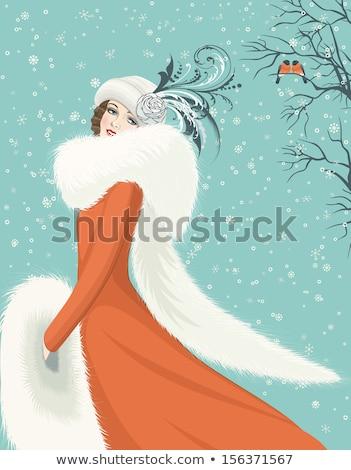 Mooie vrouw winter pels retro portret handen Stockfoto © Nejron
