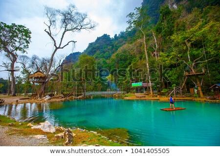 Rivier Laos landschap natuur asia heuvels Stockfoto © travelphotography