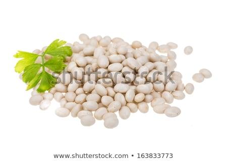Witte bonen groene kom dieet gezonde Stockfoto © raphotos