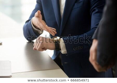 Impaciente homem de negócios empregado abrir brasão falante Foto stock © icefront
