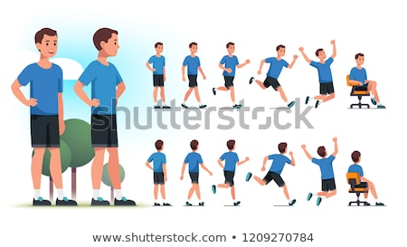 jogging man vector illustration stock photo © leonido
