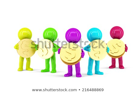 Group of coloured 3d people holding coins. Isolated. Contains clipping path Stock photo © Kirill_M