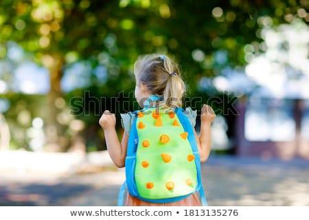 学校 · リュックサック · 白 · デスクトップ · レトロな - ストックフォト © dezign56