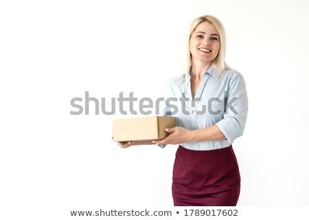 jeune · femme · permanent · nouvelle · appartement · touches · maison - photo stock © hasloo