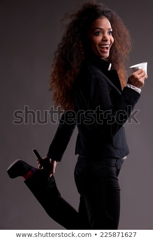 Mooie meisje koffie vreemd pose gekruld Stockfoto © Giulio_Fornasar