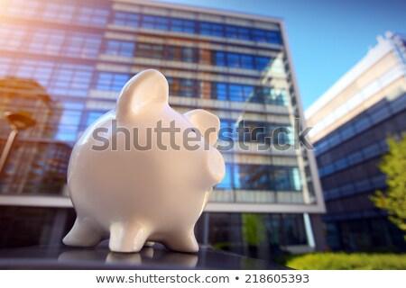 Persely pénzügyi negyed város felhőkarcoló persely bankügylet Stock fotó © mikdam