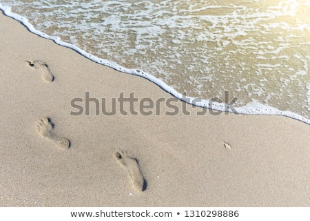Sandy beach with footsteps to water Stock photo © backyardproductions