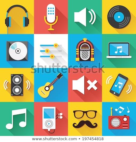 Muziek vinyl app icon lang schaduw Stockfoto © Anna_leni