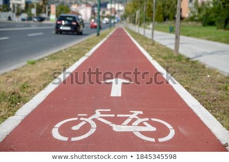 Bicycle lane or path, icon symbol on red asphalt road Stock photo © FrameAngel