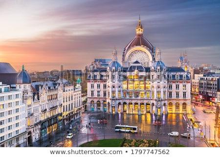 Belgium alkonyat városkép utca Isten gótikus Stock fotó © vichie81