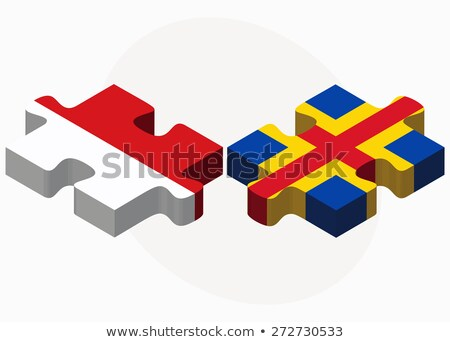 Indonesia and Aaland Islands Flags in puzzle Stock photo © Istanbul2009