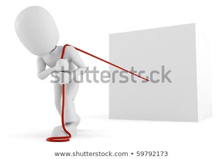 ビジネスマン 立って キューブ ロープ 白 ストックフォト © wavebreak_media