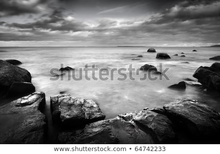 Black and white ocean landscape with rocks Stock photo © Sportactive