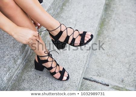 black leather womens sandal shoe stock photo © gavran333