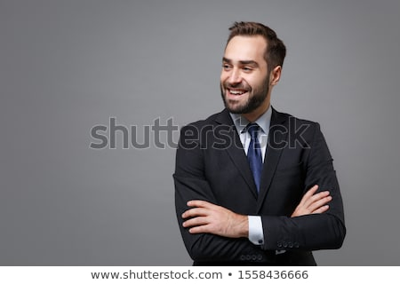 glimlachend · zakenman · praten · telefoon · buitenshuis · vergadering - stockfoto © deandrobot