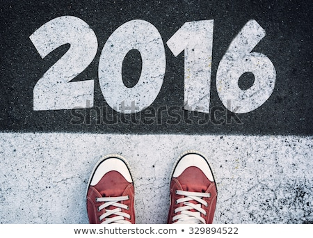 Happy New Year 2016 with Sneakers from Above Stock photo © stevanovicigor